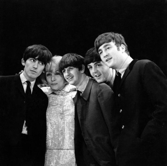 Marlene Dietrich and The Beatles during Royal Variety Performance rehearsals, 1963.