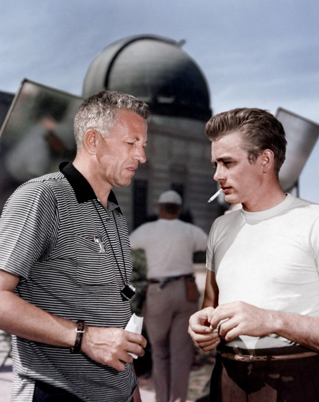 Nicholas Ray and James Dean on the set of Rebel Without a Cause.