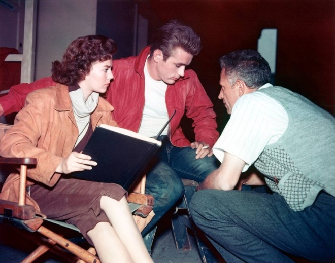 Rebel Without A Cause — James Dean, Natalie Wood and director Nicholas Ray.