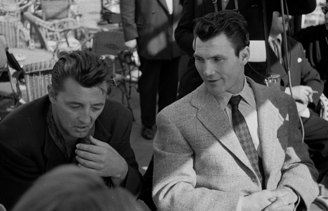 Robert Mitchum and Jack Palance, 1954