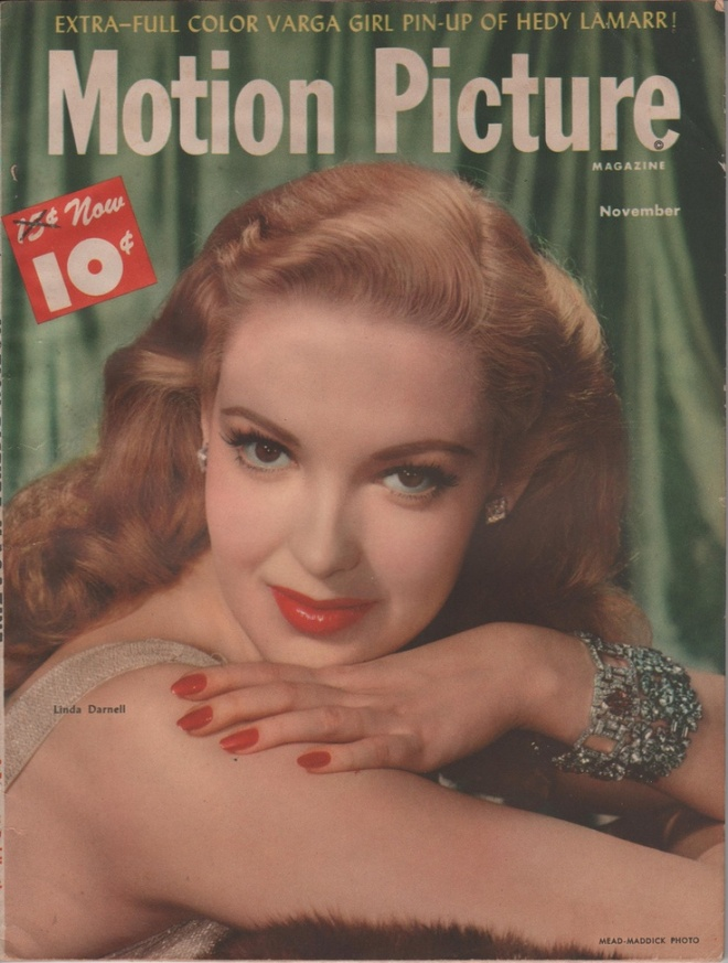 Linda Darnell on the November 1947 Motion Picture. The lightened hair was for the title role in Forever Amber.