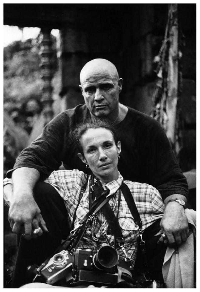 "Photographer Mary Ellen Mark and Marlon Brando, ""Apocalypse Now"" set, 1979"