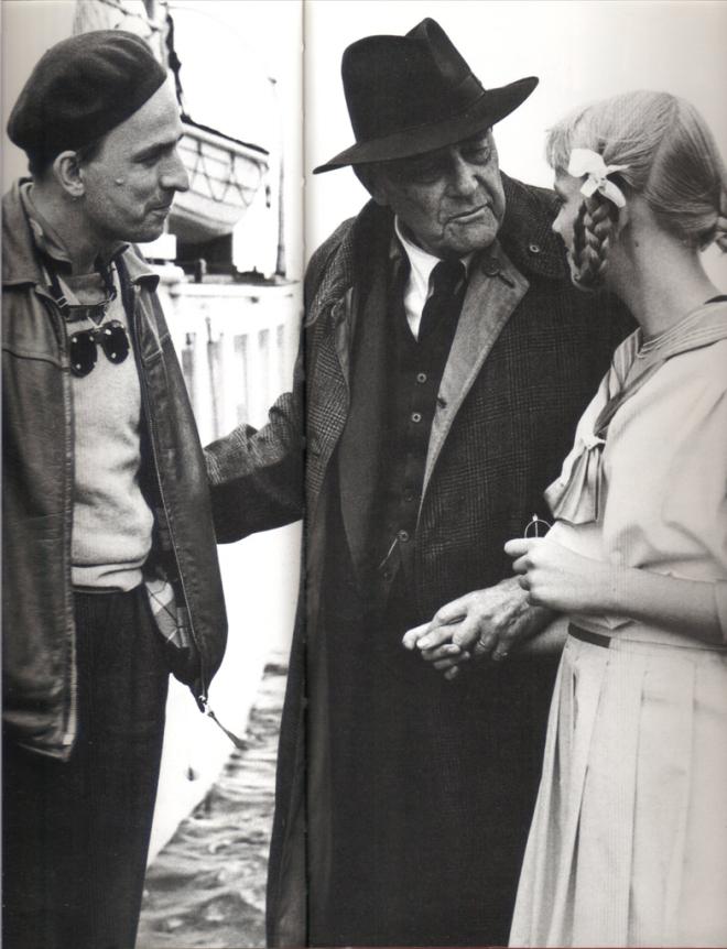 Ingmar Bergman, Lena Bergman, Victor Sjöström during the filming of Wild Strawberries