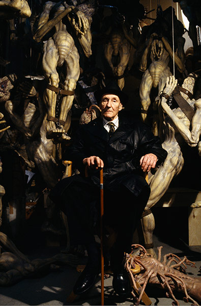 Burroughs on the set of The Naked Lunch directed by David Cronenberg