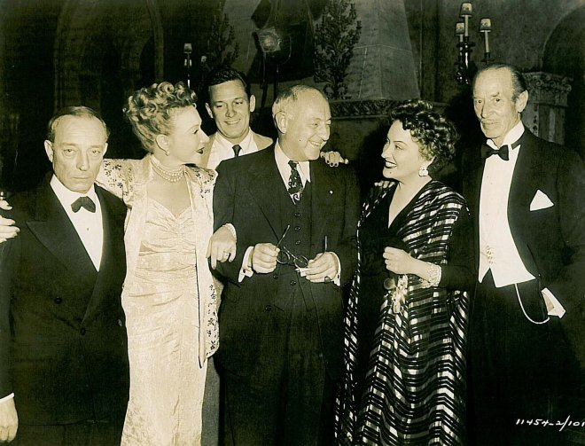Buster Keaton, Anna Q. Nillson, William Holden, Cecil B. DeMille, Gloria Swanson and H.B. Warner on the set
