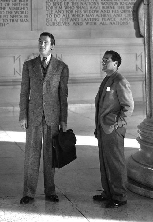 "Jimmy Stewart and Frank Capra on the set of ""Mr. Smith Goes to Washington"" (1939)"
