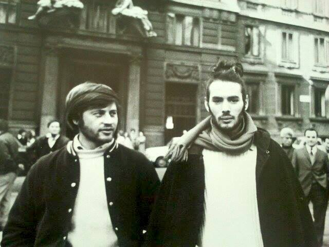 Great cinematographer Nino Celeste and Pierre Clementi during a break while filming Cavani's Masterpiece, The Year of the Cannibals_Mike Guillen