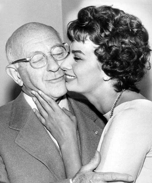 On her first visit to Hollywood, Sophia Loren meets Cecil B. DeMille. April, 1957