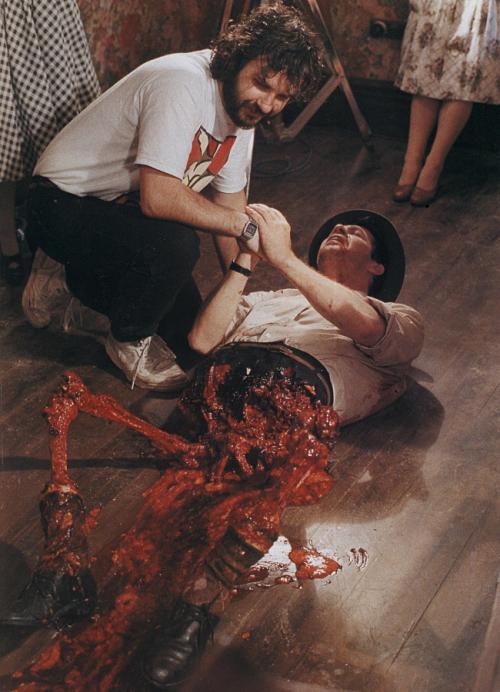 Peter Jackson on the set of Dead Alive AKA Braindead.