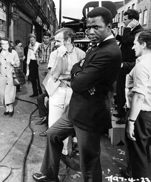 Sidney Poitier between scenes of To Sir, with Love