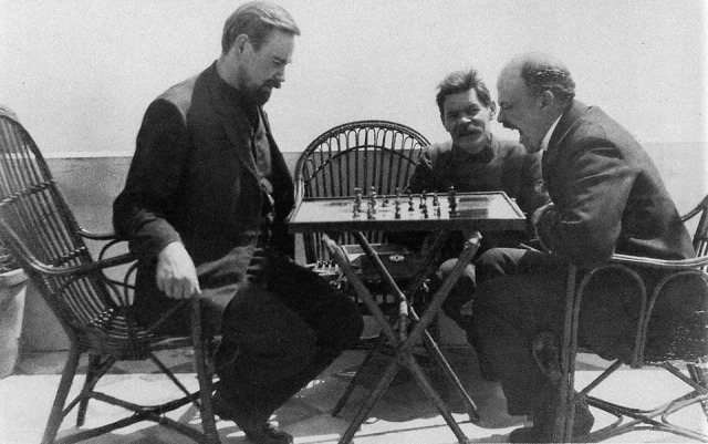 Vladimir Lenin plays chess with Alexander Bogdanov during a visit to Maxim Gorky (April ,10 (23) - April, 17 (30) 1908)