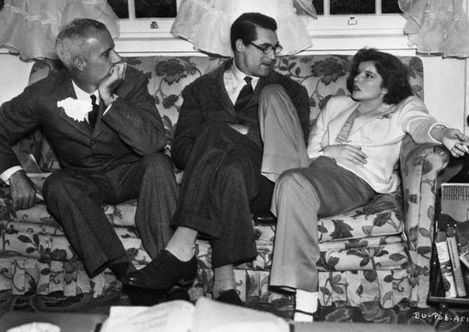 Cary Grant, Katharine Hepburn and director Howard Hawks on the set of Bringing Up Baby