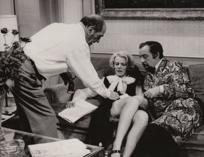 Fernando Rey,Delphine Seyrig and Luis Buñuel, on the set of The Discreet Charm of the Bourgeoisie,1972-1