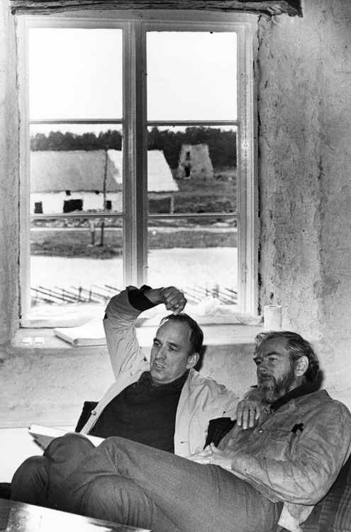 Ingmar Bergman with cinematographer Sven Nykvist on the Island of Faro where he was filming 'Scenes From A Marriage', 1972