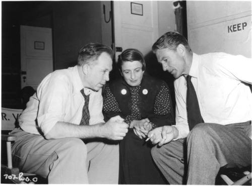 King Vidor, Ayn Rand, Gary Cooper (Set of the Fountainhead 1949)