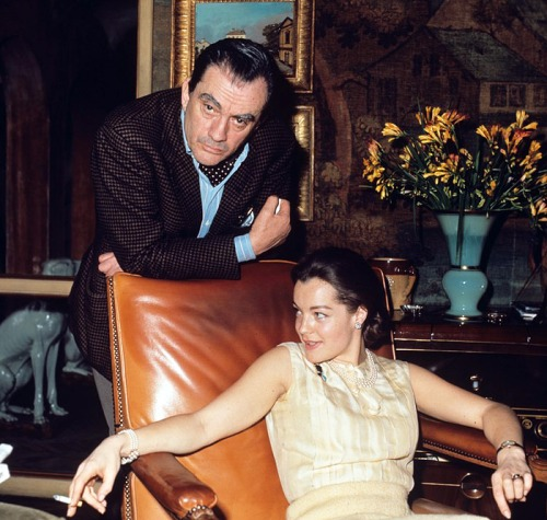 "Romy Schneider and Luchino Visconti on the set of  ""Boccaccio '70"" (1962)-2"
