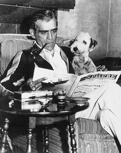 Blog_One of the last photos of Boris Karloff relaxing at his home 'Roundabout' in Bramshott, England.