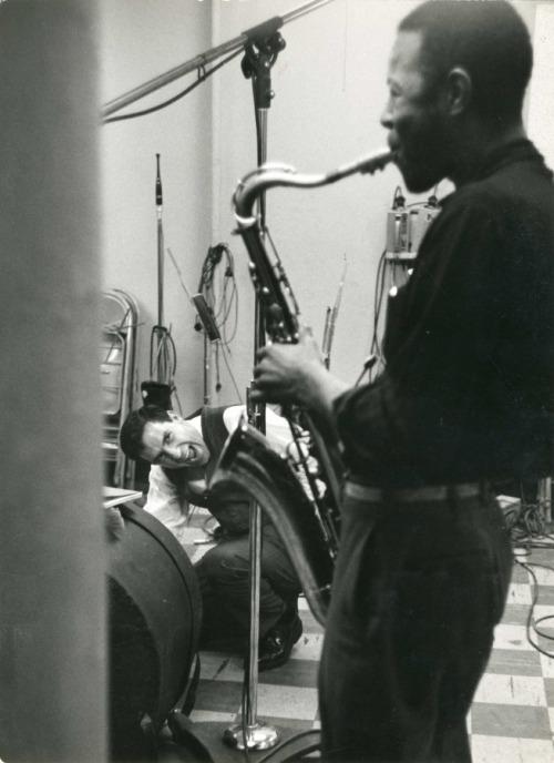 John Cassavetes and Shafi Hadi during the recording of Charles Mingus' original score for Shadows, 1959.