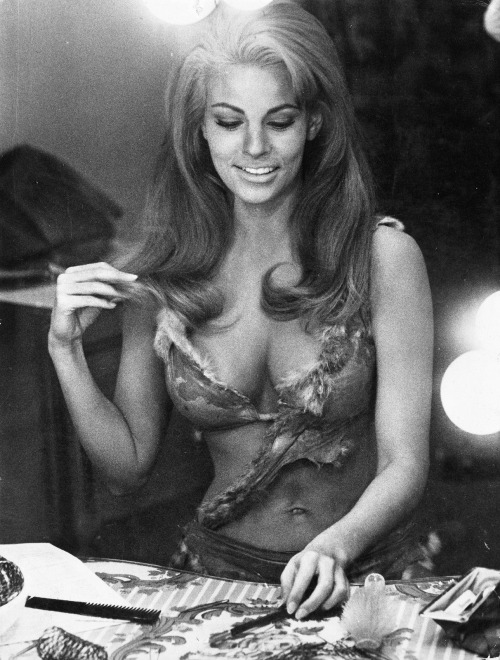 Raquel Welch on the set of 'One Million Years B.C.', 1966.