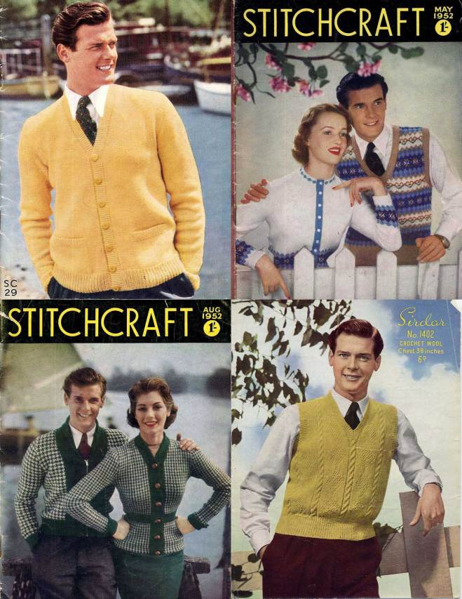 Roger Moore as a knitwear model for the Stitchcraft magazine.