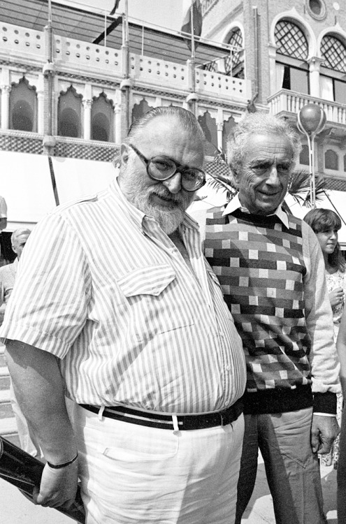 Sergio Leone with Michelangelo Antonioni outside the Excelsior hotel, Lido, Venice, 1984.-2