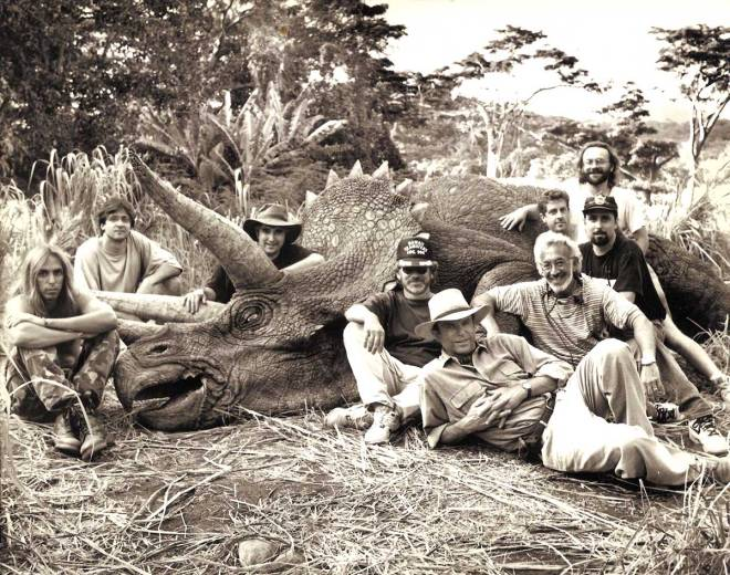 Steven Spielberg, Sam Neill, Stan Winston and crew with a Triceratops on the set of Jurassic Park.