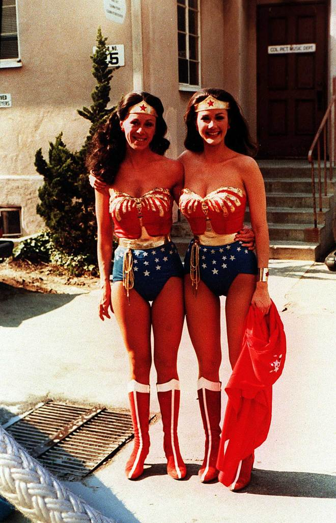 Stunt double Jeannie Epper and Lynda Carter as Wonder Woman.