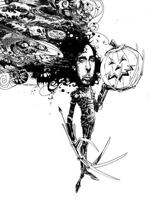 Tim Burton by Bill Sienkiewicz