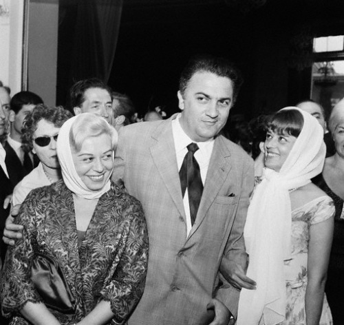 Giulietta Masina, Federico Fellini and Jeanne Moreau at the Cannes Film Festival, 1960.