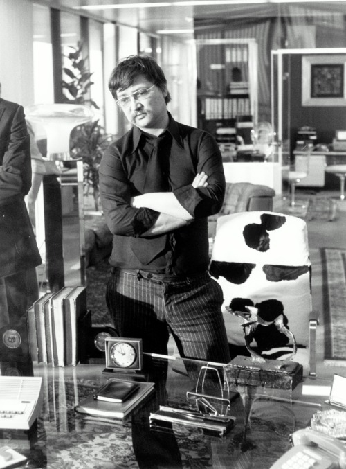 Rainer Werner Fassbinder on the set of World on a Wire
