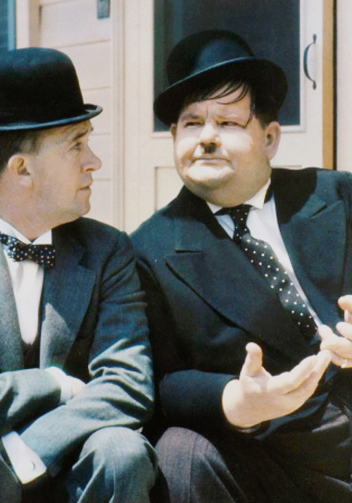 Rare color photo of Stan Laurel and Oliver Hardy.