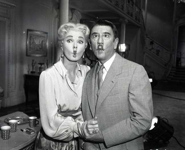 Eleanor Parker and Richard Haydn on the set of The Sound of Music.