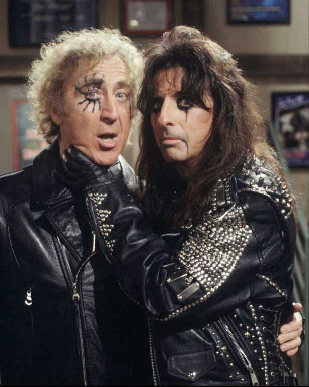 Gene Wilder and Alice Cooper on set of Something Wilder