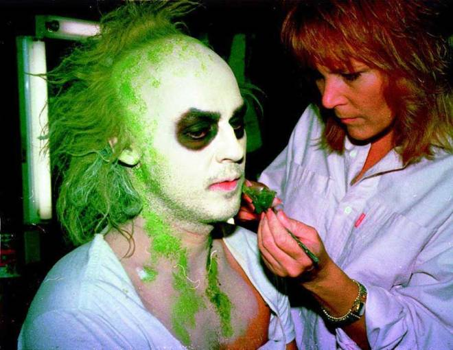 Ve Neill doing Michael Keaton's makeup for Beetlejuice.