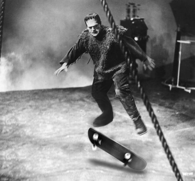 Boris Karloff does a kick flip on the set of Son of Frankenstein (1939)