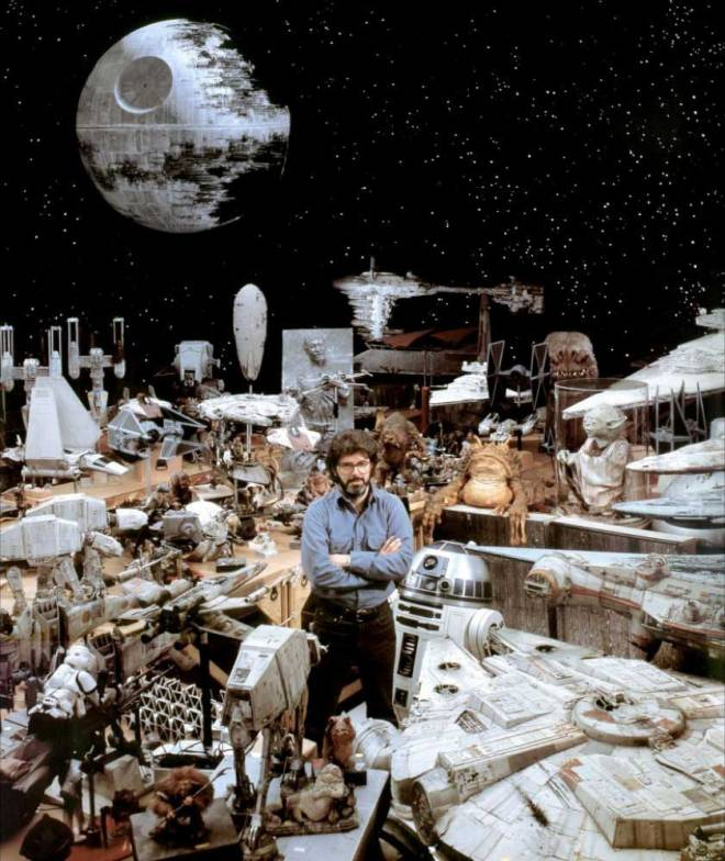 George Lucas and Star Wars props