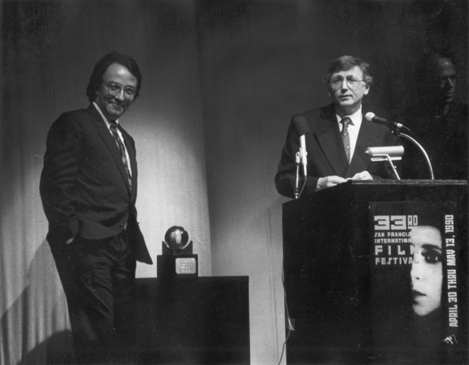 Jiri Menzel (Czech Jiří Menzel) receiving the Akira Kurosawa Award at the 33rd San Francisco International Film Festival. Festival ran from 30 April to 13 May 1990