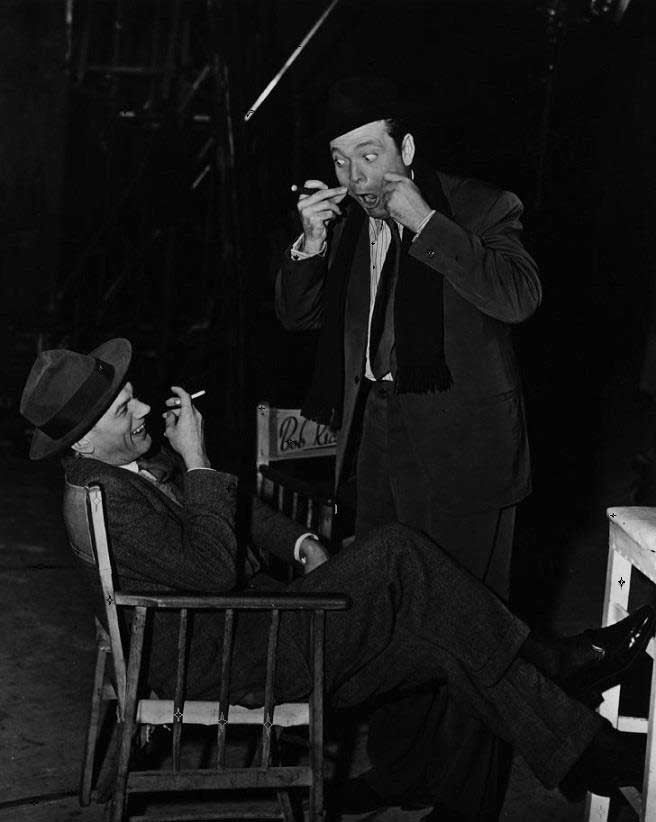 Joseph Cotten and Orson Welles on the set of The Third Man.