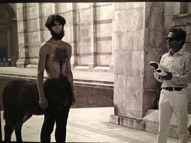Laurent Terzieff and director Pier Paolo Pasolini on the set of Medea, 1969