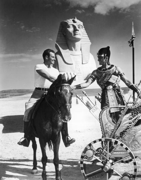 Charlton Heston and Yul Brenner on the set of 'The Ten Commandments', 1956