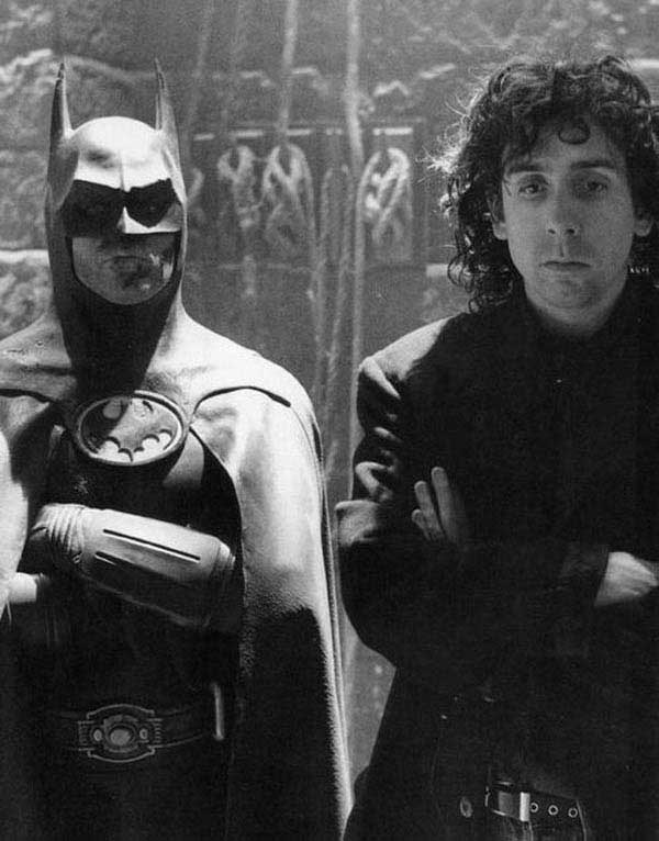 Michael Keaton and Tim Burton on set of Batman 1989