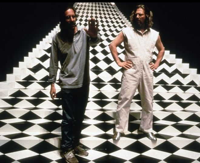 The Big Lebowski. Director Joel Coen checking in on The Dude during the trippy dream sequence.