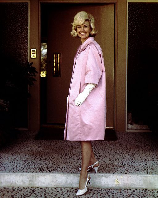 Doris Day Actress Doris Day wearing a Givenchy creation during a visit to Paris,July 1960.