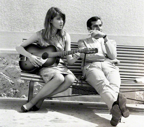 "Françoise Hardy with director Roger Vadim photographed by Vittoriano Rastelli on the set of his movie ""Château en Suède"", 1963-1"