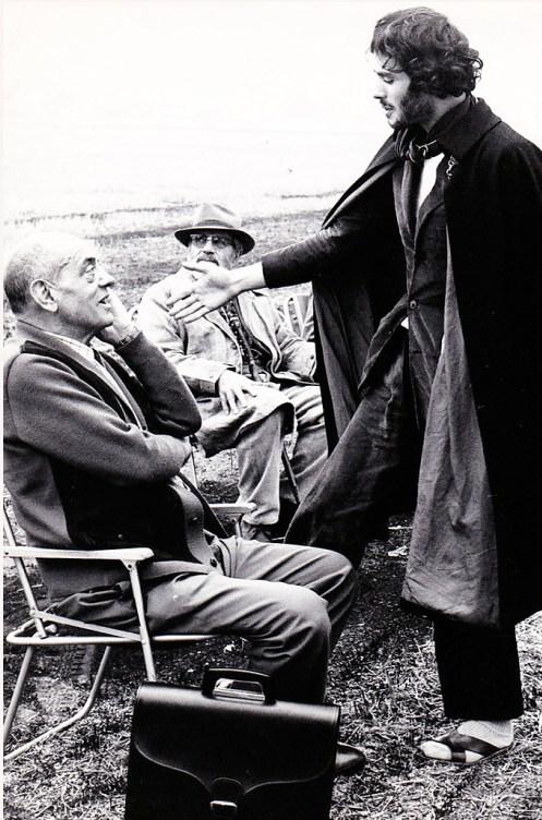Pierre Clémenti and Luis Buñuel on the set of  The Milky Way, La Voie lactée, 1969