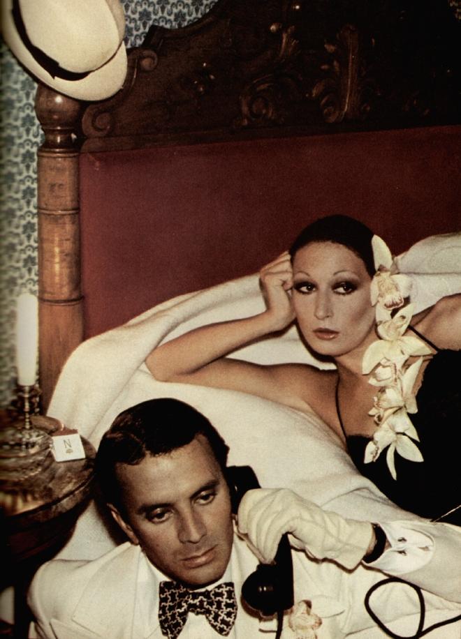Anjelica Houston and Manolo Blahnik by David Bailey for Vogue UK January 1974
