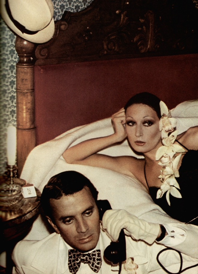 Anjelica Houston and Manolo Blahnik by David Bailey for Vogue UK January 1974