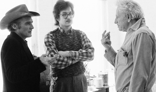 Dennis Hopper, Nicholas Ray and Wim Wenders photographed by Caterine Milinaire on the set of the film The American Friend, 1977-1