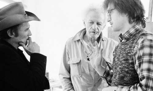 Dennis Hopper, Nicholas Ray and Wim Wenders photographed by Caterine Milinaire on the set of the film The American Friend, 1977-2