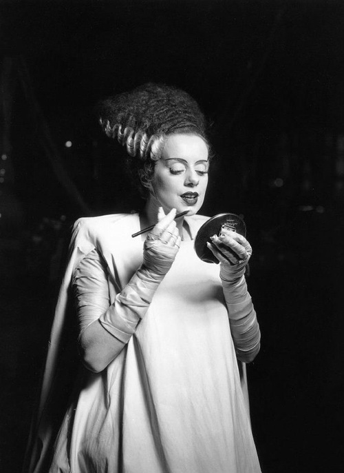 "Elsa Lanchester on the set of ""Bride of Frankenstein"" (1935, dir. James Whale)"